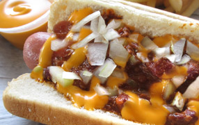 Chili dog with fries